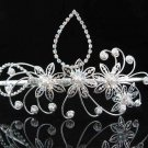 bridesmaid bride headpiece wedding hair accessories silver pearl huge bridal tiara #8400
