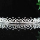 handmade bridal headpiece wedding accessories hair silver pearl tiara huge regal #10729