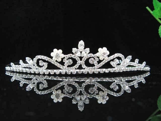 bride bridal headpiece wedding accessories hair silver crystal pearl bridal tiara 6812