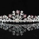 Bride bridal wedding hair accessories silver alloy floral sparkle crystal red bridal tiara kc615