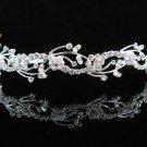 handmade regal wedding accessories metal silver sparkle bridal headband crystal tiara 3574