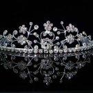 wedding accessories bride bridesmaid silver floral rhinestone sparkle bridal tiara 5581