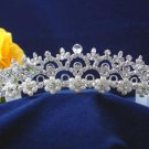Bride bridesmaid crystal wedding hair accessories silver floral pearl rhinestone bridal tiara 3047