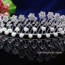 crystal wedding bride hair accessories silver daisy pearl rhinestone bridal tiara 100