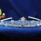Bride bridesmaid crystal regal wedding hair accessories silver floral rhinestone bridal tiara 579