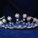 Bride wedding Hair accessories, silver headpiece floral pearl rhinestone bridal tiara 4715