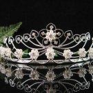 Antique Silver Diamond White Pearl Crystal Bride Bridesmaid Tiara Headband 5119