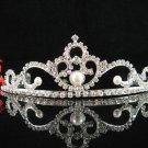 Bridal tiara crystal pearl wedding accessories handmade silver rhinestone headpiece 1370