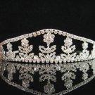 Bridal Clear Queen Silver tone Party Bow Rhinestone headpiece Tiara Crown 1224