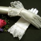 """10"""" Wedding Organza French lace Gloves ,Ivory pearl Wrist Bridal Gloves Accent 15i"""