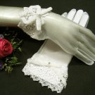 "9"" Wedding Organza French lace Gloves ,Ivory Rhinestone Wrist Bridal Gloves Accent 17i"