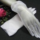 "8"" Wedding Organza Gloves ,White pearl Wrist Bridal Gloves Accent 27w"