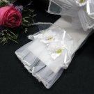 """10.5"""" Wedding Organza Gloves,Floral White Wrist Bridal Gloves Accent 76w"""