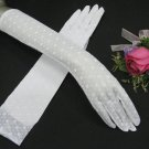 "15"" Nylon white Wedding Gloves,elbow Dot Bridal Gloves Accent 20w"