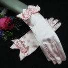 "8"" Wrist Wedding Gloves,Butterfly Tie Satin Beaded Bridal Gloves Accent 07p"