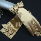 "8"" Wrist Gold Color Wedding Gloves,Butterfly Tie Satin Beaded Bridal Gloves Accent 07g"