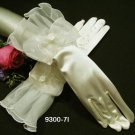 "11""Ivory Fingerless Wedding Gloves, Organza Floral Wrist bridal Gloves 7i"