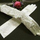 """14.5"""" Satin Rhinestone Elbow ivory Wedding Gloves,French lace bridal Gloves 70i"""