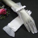 "10"" Satin wrist white Wedding Gloves,sheer lace pattern short bridal Gloves 64w"