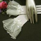 "10""floral wrist white crochet Wedding Gloves,organza ribbon short bridal Gloves 5w"