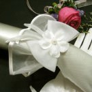 "11"" ivory wrist bridal gloves,sheer organza floral pearl wedding gloves 2i"