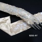 Elbow satin ivory fingerless bridal gloves,french lace pearl wedding gloves 4i