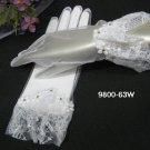 "10"" wrist white sheer organza bridal gloves,french lace floral rhinestone wedding gloves 63w"