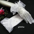 "9.5"" simple white bridal glove,sheer organza pearl wrist wedding gloves 25w"