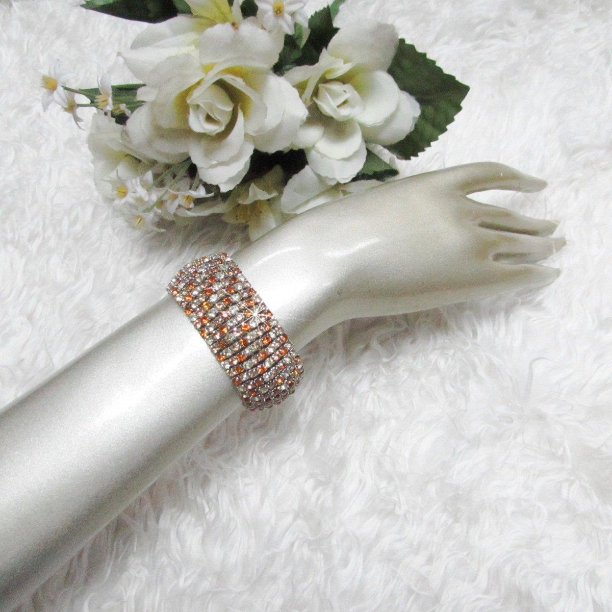 Sparkling Stretch Rhinestone Prom Wedding Pageant Bridal Bracelet cone woman accessories cb10