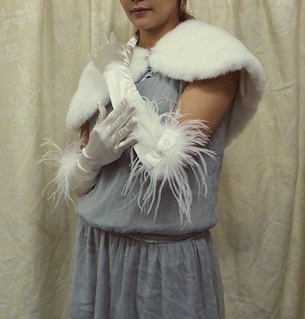 """15"""" bride bridesmaid elbow glove satin rhinestone ivory ostrich wedding gloves 5i"""