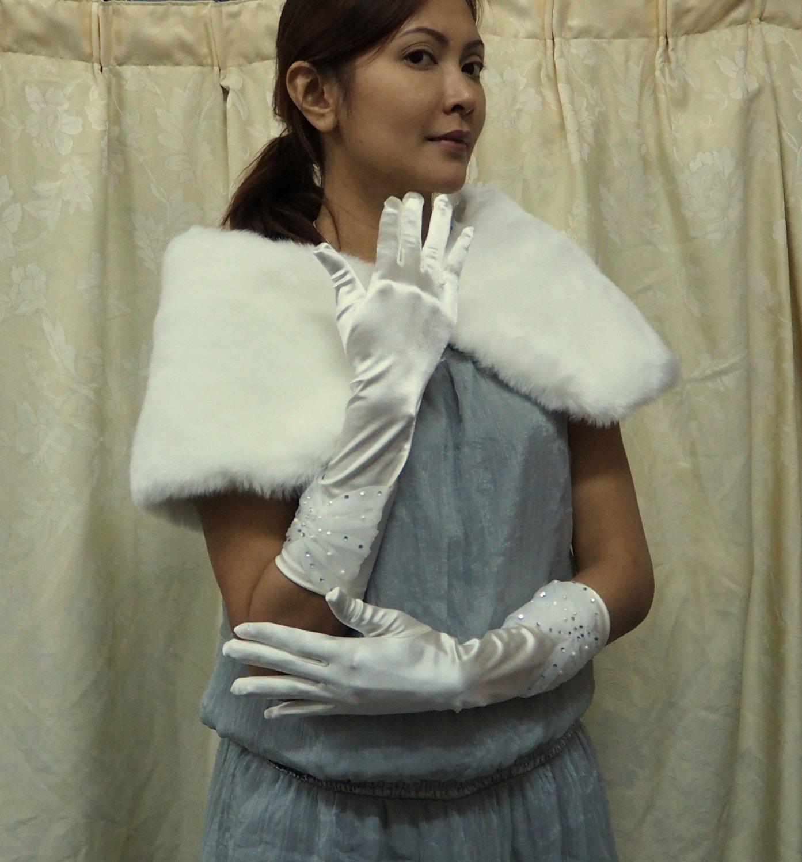 "13"" bride bridesmaid elbow glove satin ivory rhinestone wedding gloves 94i"