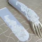 "13"" french lace bride bridesmaid fingerless glove,white pearl elbow wedding gloves 44w"