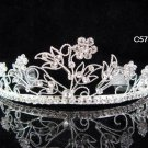 Bridal Queen Floral Party Silver Elegance Rhinestone headpiece Tiara Crown 5788
