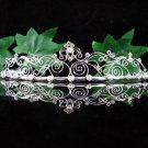 Filigree Bridal Queen Party Silver Vine Elegance Rhinestone headband Tiara Crown 7596