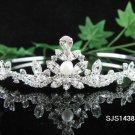 Bride, Wedding Tiara Pearl Swarovski Crystals and Rhinestones Headband Regal Crown S1438