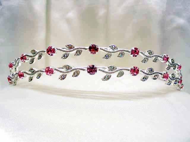 Bride, bridesmaid Wedding Alloy Pink Tiara Crystal Rhinestones Headband 534p