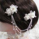 Bride, bridesmaid Wedding Alloy Hair Comb,Porcelain Organza Floral Crystal Rhinestones Clip #1578