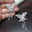 Bridal Tiara ,bridesmaid Wedding Silver Comb,Butterfly Comb,Rhinestones Pair Of Bride Clip #1768