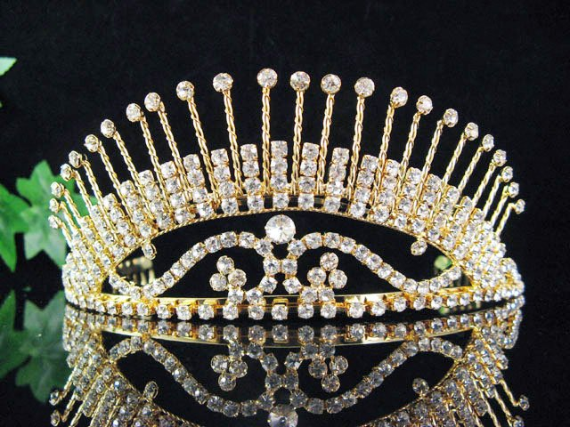 Elegant Golden Bride Bridal Headpiece,Huge Bridesmaid Wedding Tiara,Bridal Tiara 524g