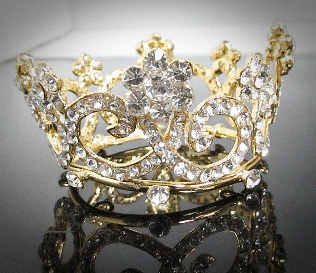 Bridal Tiara Wedding Rhinestone Golden Floral Bridal Small Crown Headpiece,Bride Tiara 124g
