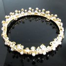 Bridal Tiara Wedding Rhinestone Golden Floral Bridal Small Crown Headpiece,Bride Tiara 223g