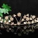 Bridal Wedding Rhinestone Tiara,Golden Floral Bridal Headpiece,Bride Tiara 531g
