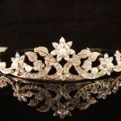 Bridal Wedding Rhinestone Tiara,Alloy floral Golden Floral Bridal Headpiece ,Bride Tiara 591g