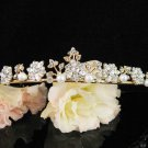 Bridal Wedding Rhinestone Tiara,Alloy Elegant Golden Vintage Bridal Headpiece ,Bride Tiara 584g