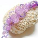 handmade floral purple pattern seed bead open end bracelet#1322pu