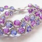 handmade purple pattern 2 strings seed beaded open end bracelet#1303 pu