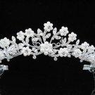 Bridal Wedding Tiara,Elegant Silver Crystal Floral Pearl Swarovski Bride tiara 377