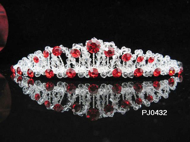Wedding Tiara,Elegant Princess Silver Red Swarovski Bride Bridal tiara 432r