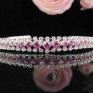 Sparkle Pink Wedding Headband,Elegant Princess Silver Rhinestone Bride Bridal tiara 3667p
