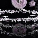 Sparkle Wedding Tiara,Elegant Princess Silver Twin Vine Rhinestone Bride Bridal tiara 4054pu